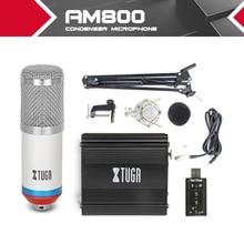 Комплект конденсаторный микрофон студия проводной Запись для компьютера BM800 + подставка для рук подвес + 48 В питания фантомного питания звуковая карта