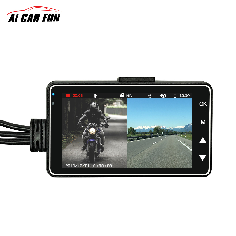 KY-MT18 coche motocicleta vehículo Cámara Auto DVR Motor Dash Cam con doble pista portátil frontal videocámaras traseras grabador negro