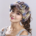 Genuine Knitted Rex Rabbit Fur Hats Natural Stripe Rex Rabbit Fur Caps lady winter warm Headwear various colors Optional#H9012