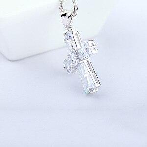 Женское ожерелье с подвеской LUOTEEMI, классический подарок на Новый год, из белого золота, с прозрачным кубическим цирконием