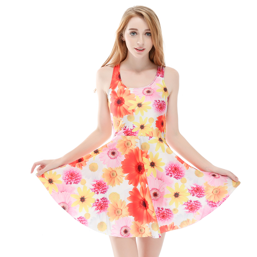 3 Patterns Women Red Flower Green leaf Summer Skater <font><b>Dress</b></font> Grey <font><b>Yellow</b></font> <font><b>Sunflower</b></font> Print Pleated <font><b>Dresses</b></font> Above Knee S To 4xL image