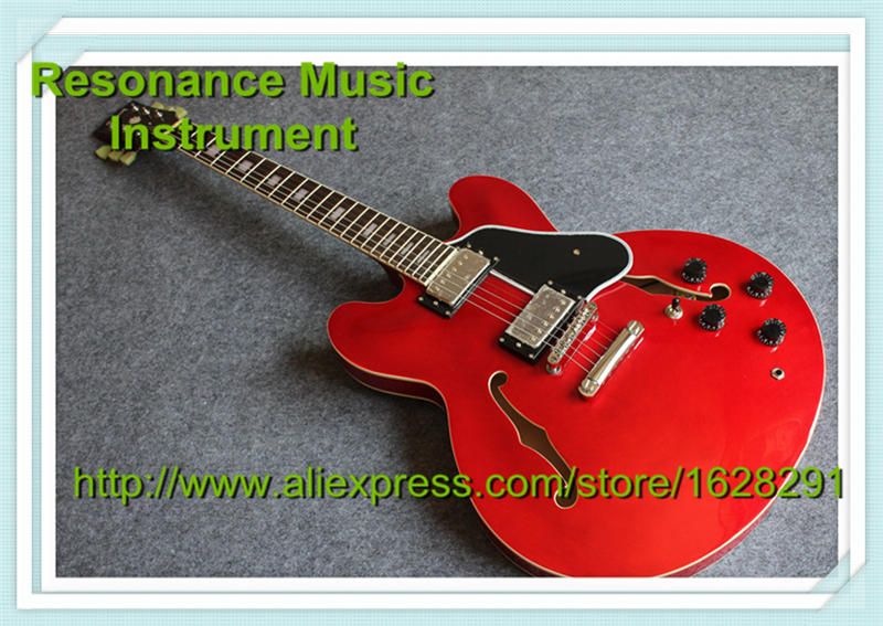 New Arrival Red ES 335 Electric Guitar Hollow Body China Guitar Left Handed Available new arrival glossy black left handed 7 string guitar electric china custom shop for sale
