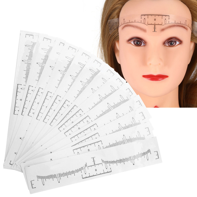 50pcs Eyebrow Ruler Sticker Grooming Stencil Shaper Ruler Measure Tool Eye Brow Drawing Guide Card Brow Template  DIY Make up