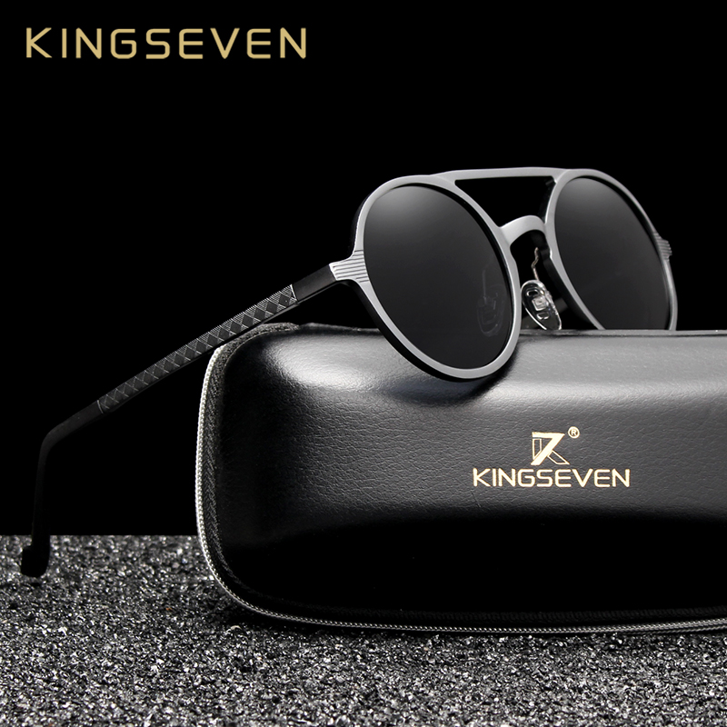 Kingseven - lunettes de soleil rondes, hommes, lunettes de soleil hommes en aluminium polarisées et rondes, lunettes de soleil rétro pour conduire, accessoires de lunettes hommes style punk vintage