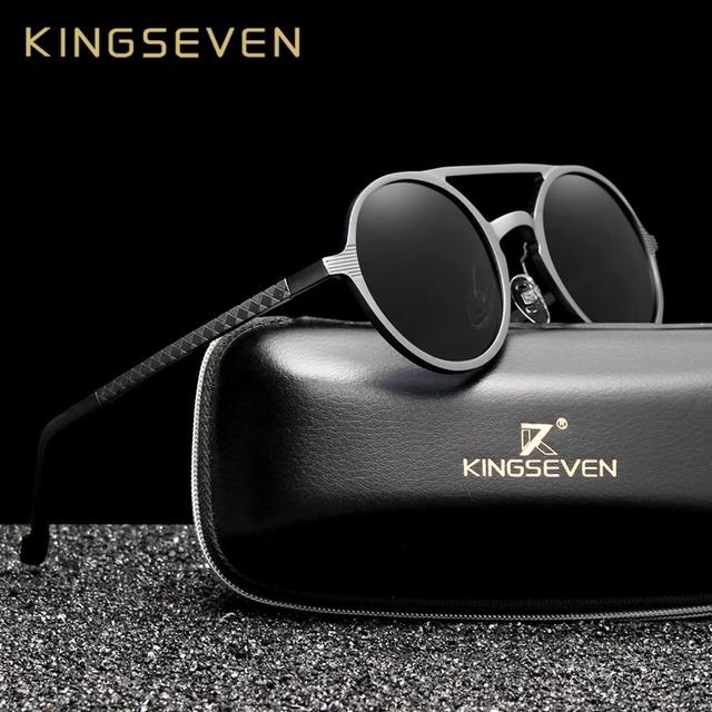 031a72a8ee6e KINGSEVEN Aluminum Men s Round Sunglasses Polarized Men Punk Vintage Eyewear  Accessories Sun Glasses Driving Retro Sun glasses