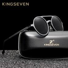 Kingseven   lunettes de soleil rondes, hommes, lunettes de soleil hommes en aluminium polarisées et rondes, lunettes de soleil rétro pour conduire, accessoires de lunettes hommes style punk vintage