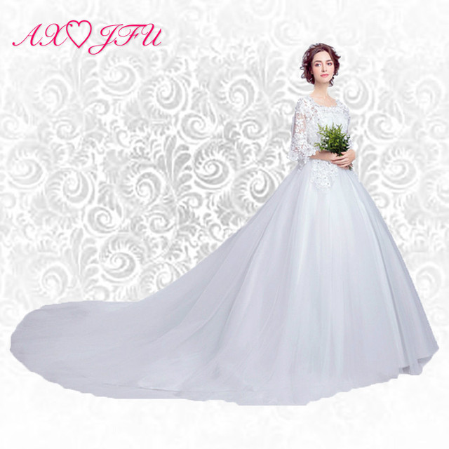 Axjfu Sweet Lace Wedding Dress Word Princess Bride Slim Large Tail Winter New 6910