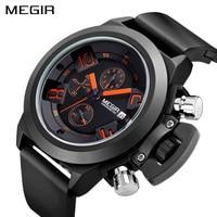 MEGIR Official Elegant Classic Black Men S Watch Classical Art Carved Craft Design Precision Time Chronograph