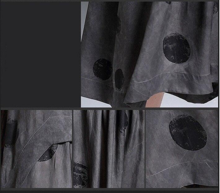 Höst O-hals Maxi klänningar Kvinnor Grå klädnader Bomull Linne - Damkläder - Foto 5