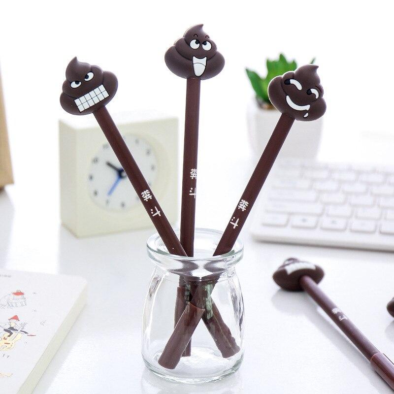 1 Stks Kawaii 3d Shit Uitwisbare Emoji Gel Pennen Leuke Zwarte Inkt Pennen Voor Kids Gift Stationery School Kantoor Escolar