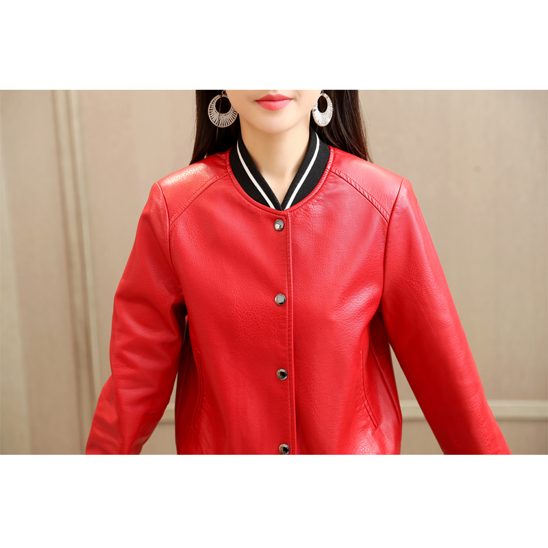 7ad7ac391 US $37.2 40% OFF|Smiao 2018 Casual Jacket For Women PU Leather Clothes  Female Baseball Shirt Buttoned Faux Leather Clothes Buttoned Blouse  Red4XL-in ...