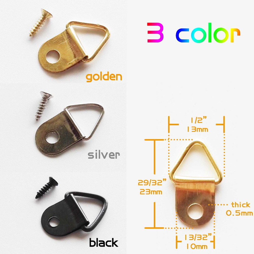 Furniture Accessories 100pc Gold Silver Black Mini Triangle D-ring Picture Art Work Oil Painting Photo Frame Hanger Hook 13x23mm Furniture Accessories