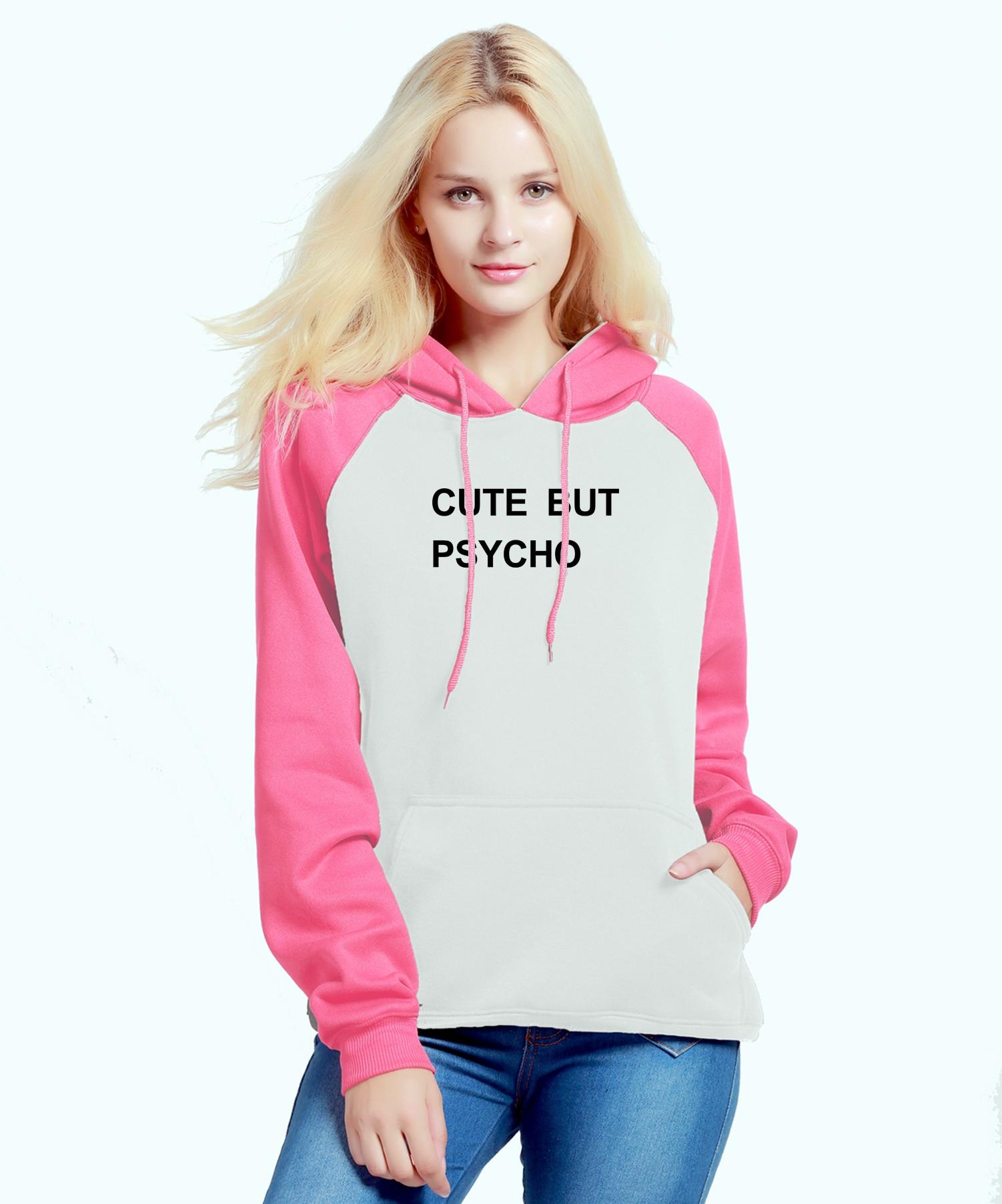Kawaii Sweatshirt For Female 2019 Autumn Winter Fleece Raglan Hoody Letter Print CUTE BUT PSYCHO Womens Sportswear Crossfit Kpop