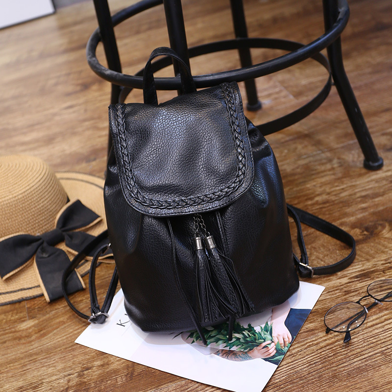 PACGOTH Solid Korean Style Black PU Leather Shoulder Bags Women's Backpack Drawstring Girl's Casual Tassel Backpack 1 Piece
