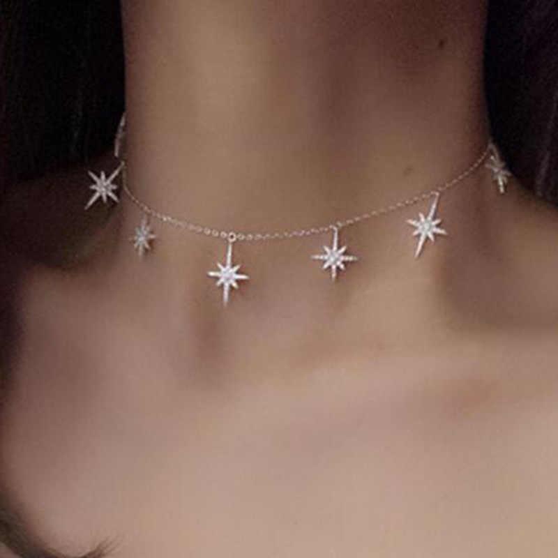 2019 новые роскошные нортстар звезда ожерелье Шарм проложить украшения CZ Чокеры для женщин Подарочное ожерелье на Рождество модные украшения