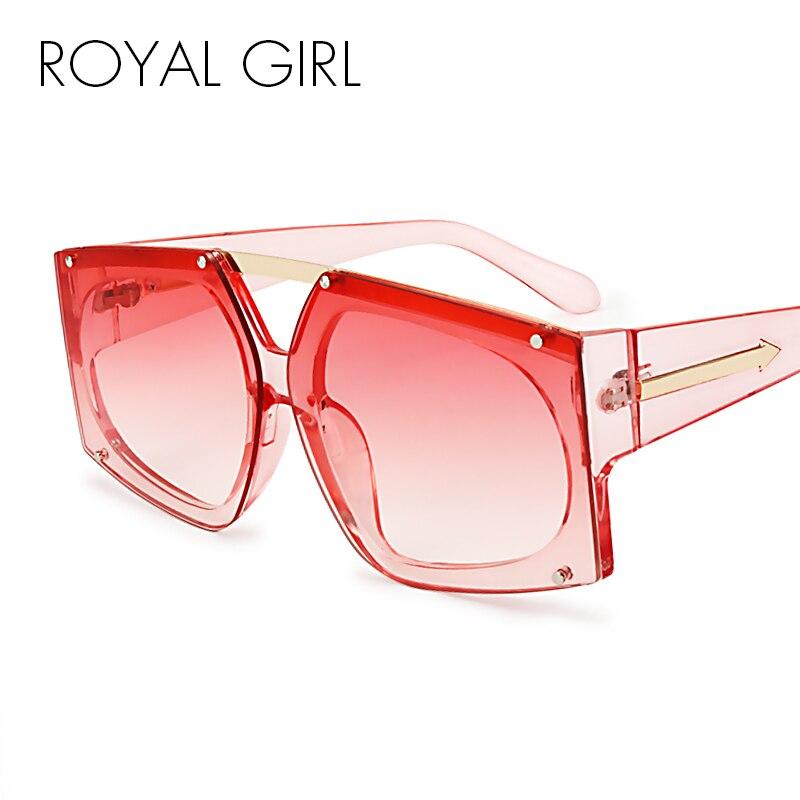 ROYAL GIRL Unique Style Design Sunglasses Elegant Women Rimless Glasses Men Square Oculos UV400 ss888