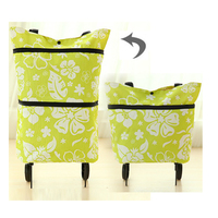 Candy Color The Portable Folding Bags Supermarket Shopping Cart Trolley Wheel Package Shopping Bag