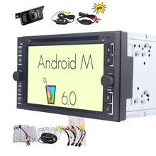 """Беспроводной резервного копирования камера 6.2 """"Android 6.0 двойной дин стерео DVD CD-плееры в тире навигации GPS Радио аудио bluetooth, Wi-Fi"""