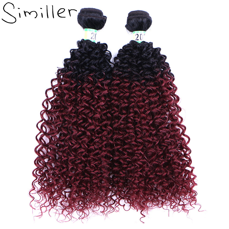 Similler 20 100g 1b T 99j Kinky Curly Synthetic Hair Weaving For African American Black Women