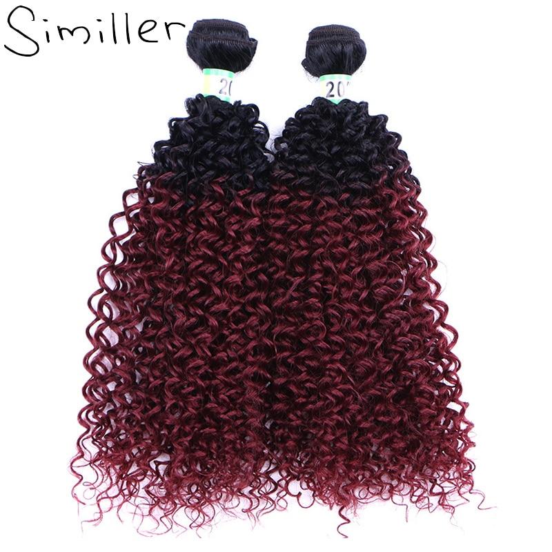 "Similler 20"" 100g 1b T 99j Kinky Curly Synthetic Hair Weaving For African American Black Women High Tempureture Fiber Ombre"