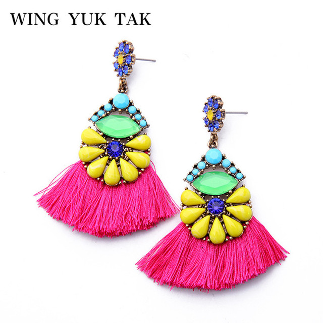 Wing Yuk Tak Fashion Jewelry Multicolored Dangle Earrings Handmade Tel Bohemian Drop Statement For Women