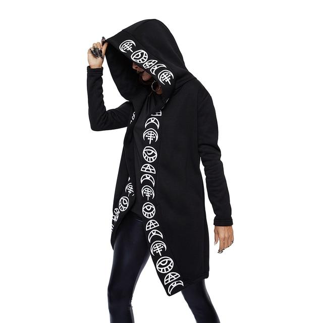 Rosetic Hoodies  Gothic Casual Cool Chic Black Plus Size Women Sweatshirts Loose  Cotton Hooded Plain Print Female Punk Hoodies 1