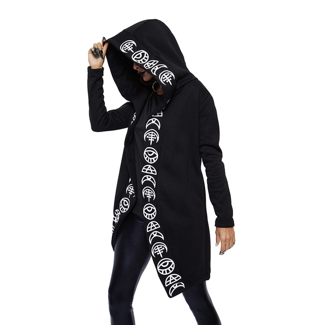 Loose Cotton Hooded Plain Print Female Punk Hoodies
