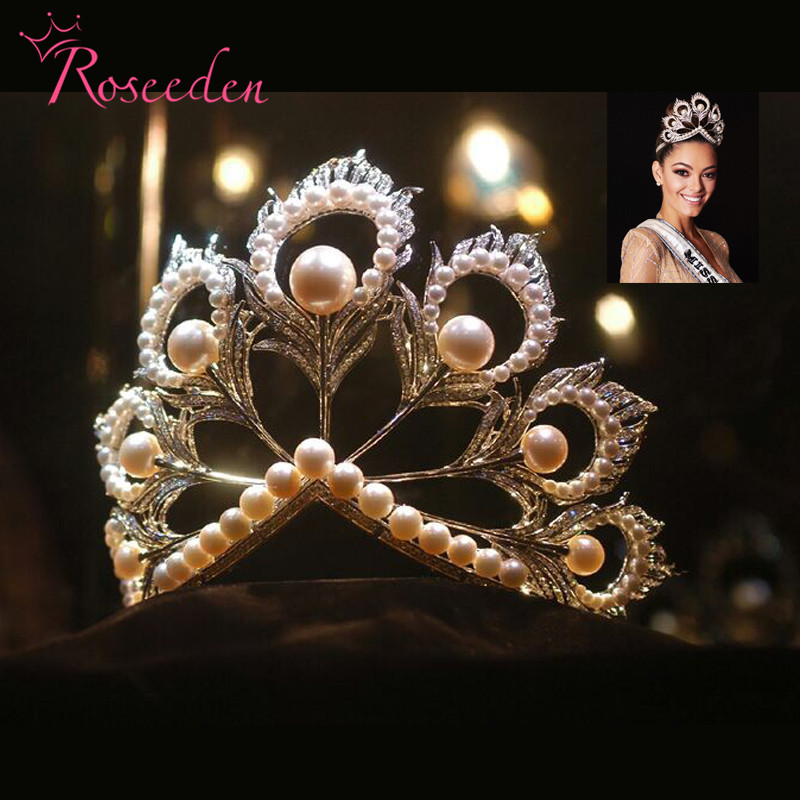 2017 Miss Universe Tiaras and Crowns Giant Big Pageant Rhinestones Pearls miss world Crown RE484
