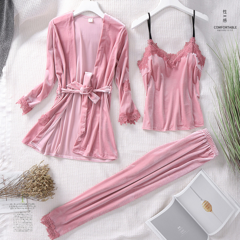 Autumn Winter Velvet   Pajamas     Set   Sexy Ladies V-Neck Cami+Pants+Robe Home Wear Casual 3PCS Nightwear Thick Warm Sleepwear Suit