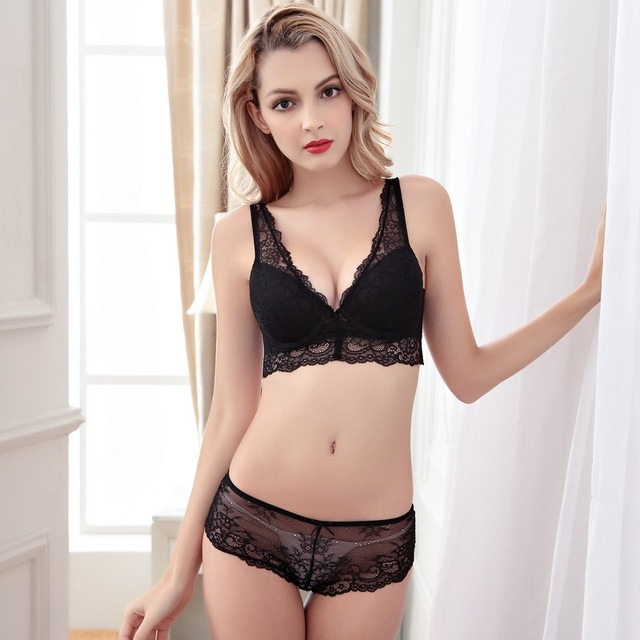 89619c0eac Sexy Lace Bra Set Push up Women s Underwear Set Padded Bra Luxury Lingerie  Embroidery Floral Intimates Solid Color Brassieres