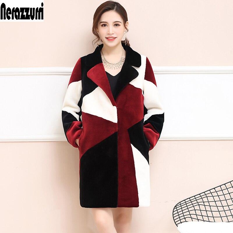 Nerazzurri Women Real Fur Coat Long Natural Sheep Shearing Fur Coat Thick Warm Winter Lamb Sheared Jacket Plus Size 5xl 6xl 7xl