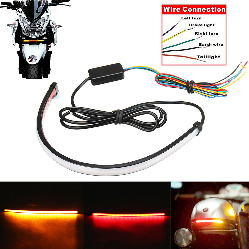 Motorcycle Brake Lights Turn Signal Led Light Flexible Strip Moto License Plate Light Flashing Tail Stop Strip Lights Moto Lamp