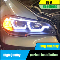 Car Styling for BMW X5 E70 2007 2013 Headlight Assembly Head Lamp Auto LED Angel Eyes DRL Double Beam H7 HID Xenon bi xenon lens
