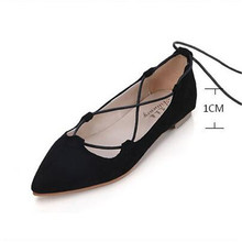 Women 's Shoes 2016 Spring and Autumn Korean cross straps flat black low to help yarn coarse round with shallow mouth shoes