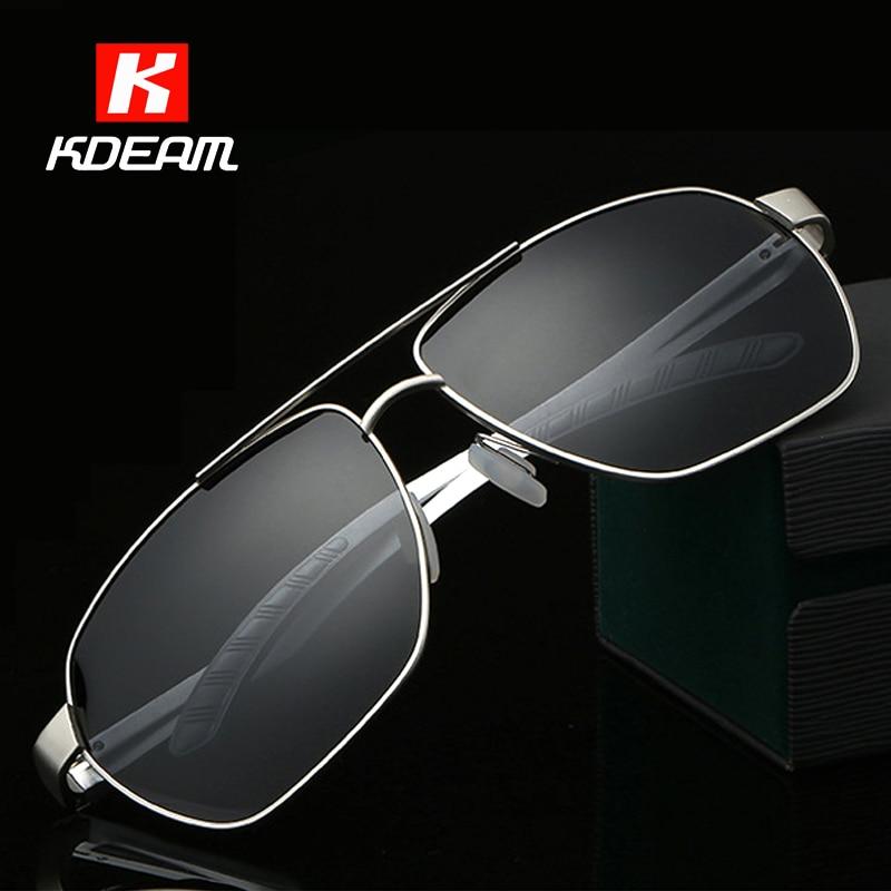 e8b47a566 الكلاسيكية 60 ملليمتر الاستقطاب النظارات الشمسية للرجال العسكرية الحديد رجل  الشمس نظارات polarizadas مع العلامة التجارية مربع KDEAM CE