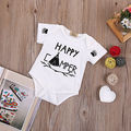 0-18M Newborn Baby Clothes Short Sleeve Summer Happy Bodysuit Infant Baby Boys Girls Body Clothing 2016