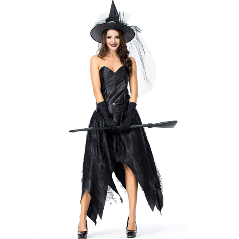 S-XL luxurious black Witch costume Halloween Sexy Spider web Witch cosplay clothing Sexy evil black queen Masquerade Party dress