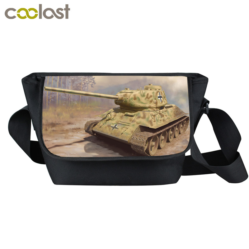 Classic T34 Tiger Tank Messenger Bag Young Men Women Travel Bag Wars Tank Shoulder Bags School Bags For Teenagers Best Gift