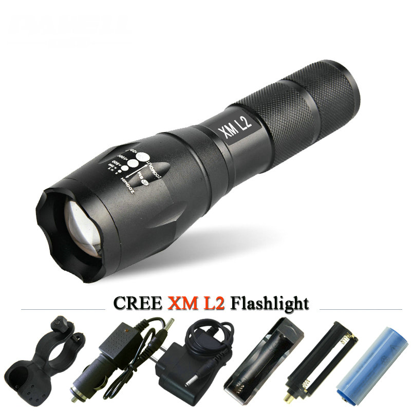 powerful cree xm L2 led flashlight waterproof zoomble led flash light led torch zaklamp lanterna light linternas lamp use 18650