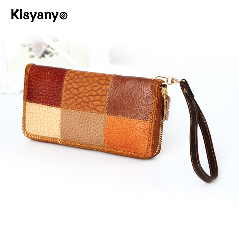 Klsyanyo Female Real Leather Women Patchwork Large Capacity Wallet Ladies Clutch Money Bags Wallet With Coin Purse Card Holder