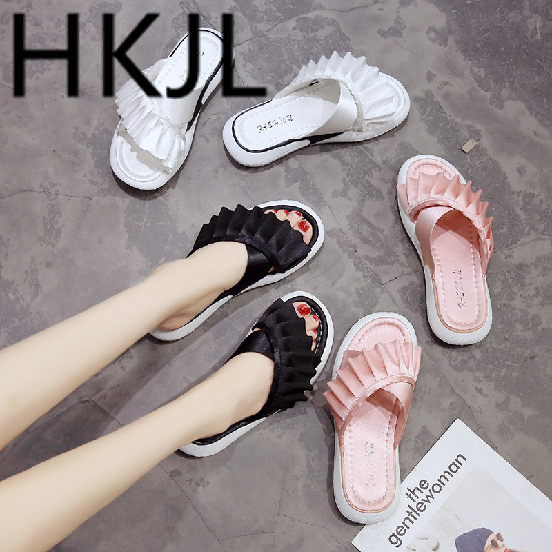 HKJL Sandals female summer outside wearing a Korean version of 2019 new Korean version of lace thick bottom slippers A407 in Slippers from Shoes