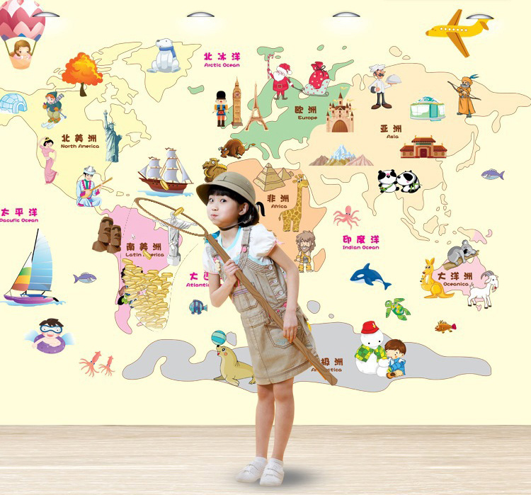 New Arrival Child World Map Wall Stickers For Kids Rooms Decor - World wall map kids