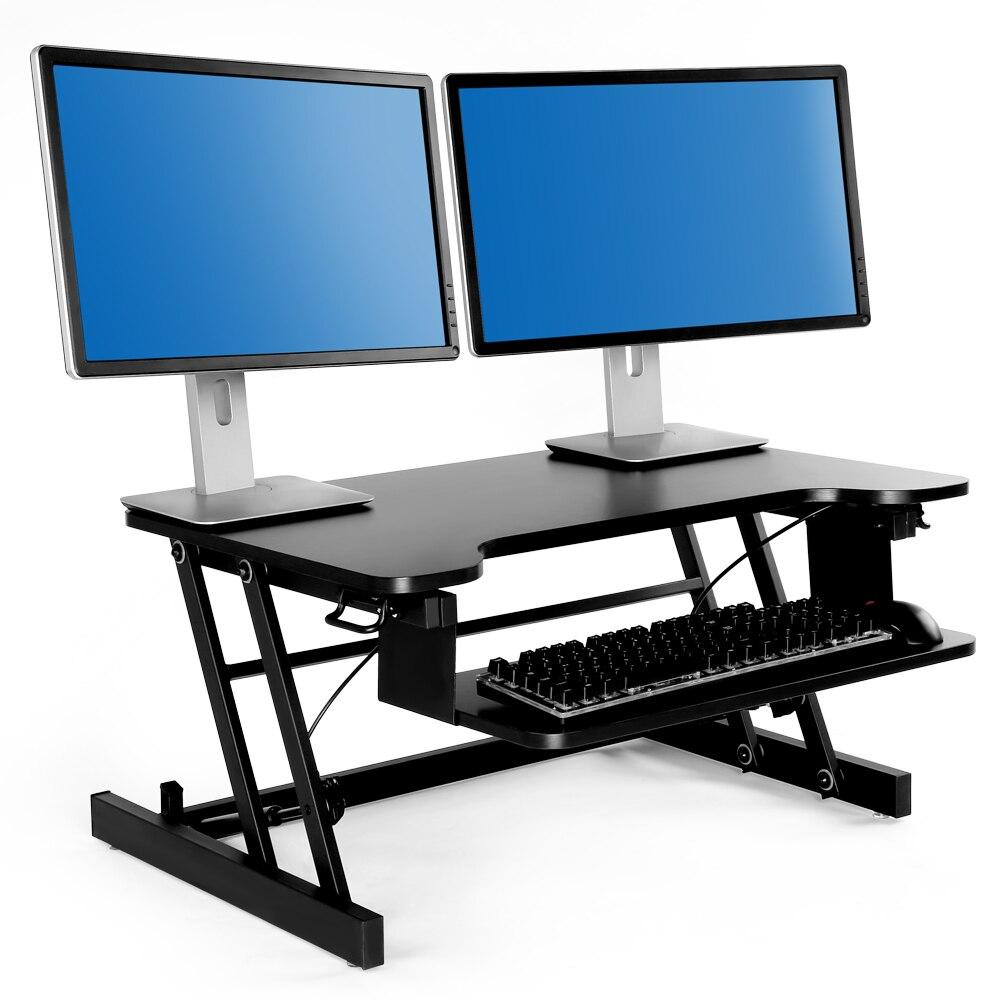 Bureau debout réglable en hauteur avec des bureaux d'ordinateur de convertisseur de colonne montante de ressort