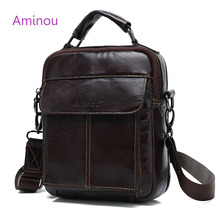 AMINOU Brand Genuine Leather Men Bag 2017 Vintage Real Leather Men's Messenger Shoulder Bags Handbag High Quality Polo Male Bags