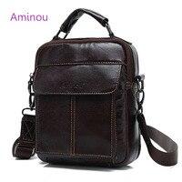 AMINOU Brand Genuine Leather Men Bag 2017 Vintage Real Leather Men S Messenger Shoulder Bags Handbag