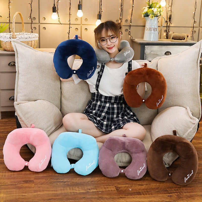 Brinquedo de pelúcia Em Forma de U Travesseiro de Viagem Pescoço Encosto de Cabeça Do Carro Almofada para Viagens Cochilo Travesseiro De Pelúcia Para O Presente Das Meninas