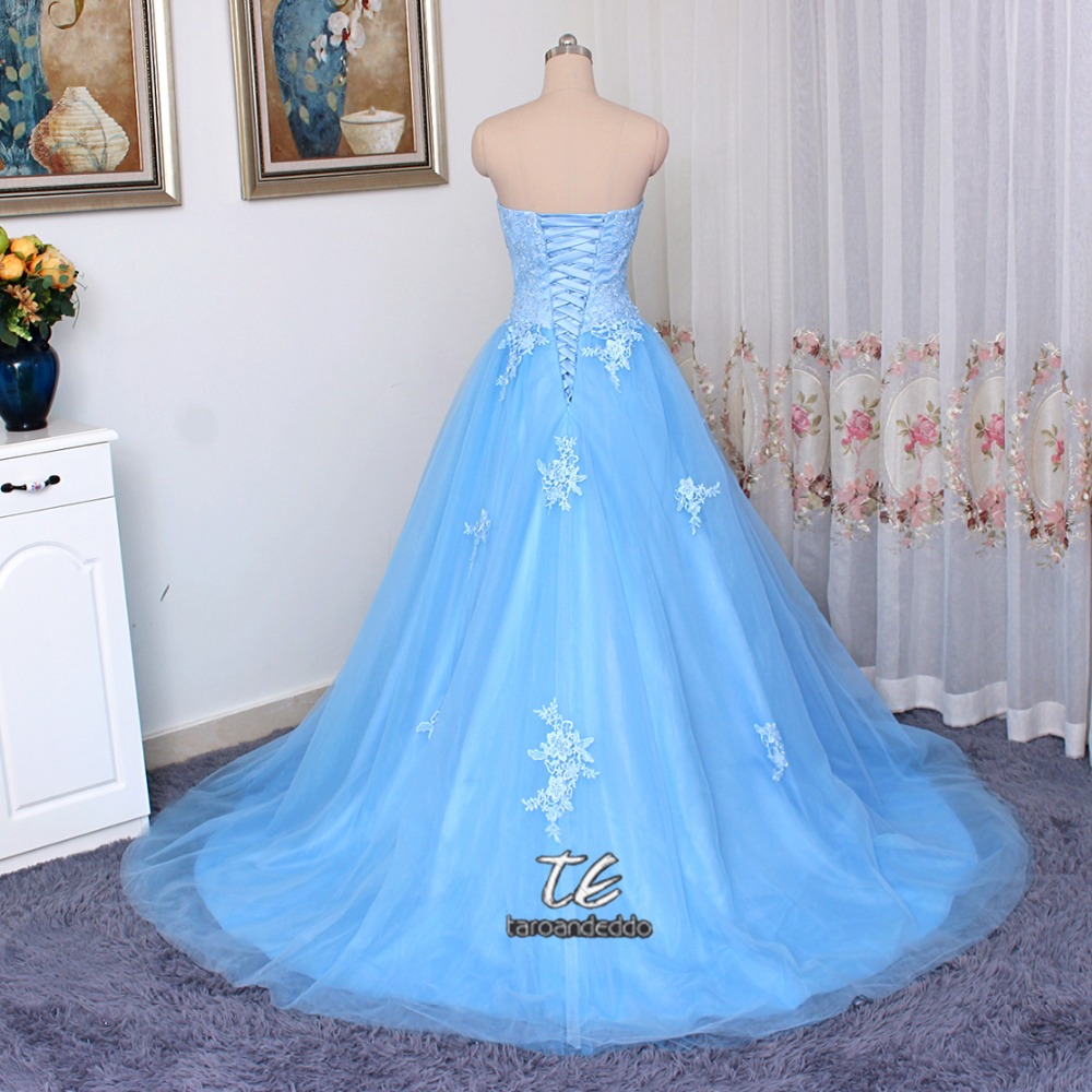 Sweetheart Neckline A line Blue Tulle and Lace Prom Dress Corset ...