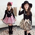 Retail 2015 nueva llegada vestido de niña de Navidad de manga larga Polka Dot A Cuadros Princesa Fancy Dress Party Girl