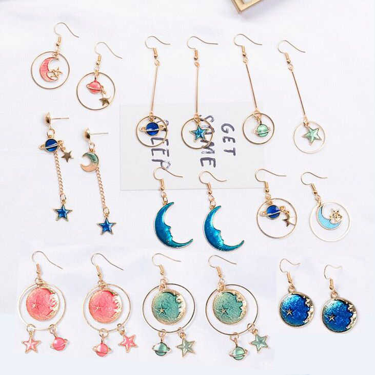 Romantic Lovely Starry sky Moon Stars Drop Earrings for women girls colorful delicate new design fashionable jewelry Earrings
