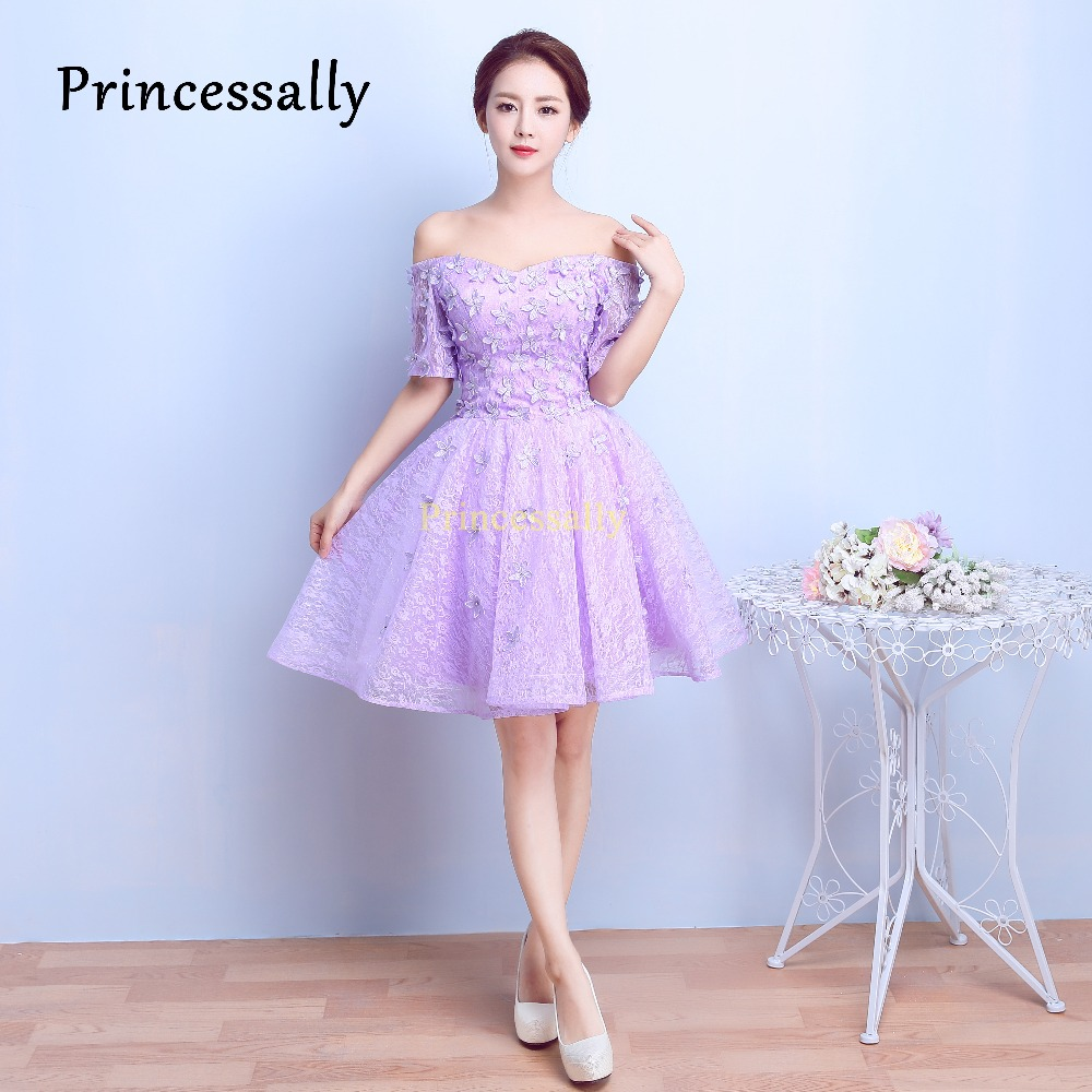 Short Bridesmaid Dress Lavender Half Sleeves Sexy Boat Neck With ...